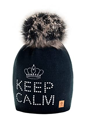 7474d9be5ff 4sold Keep Calm Womens Girls Winter Warm Hat Wool Knitted Beanie Fleece  with Large Fur Knit