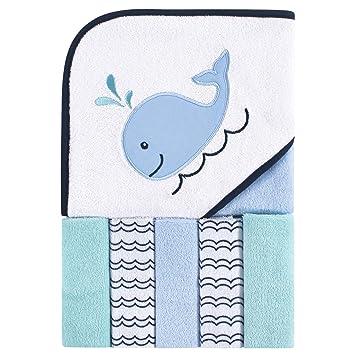 6 Piece Bath Set Baby Infant Hooded Towel Washcloth Blue Whale Girl Boy New