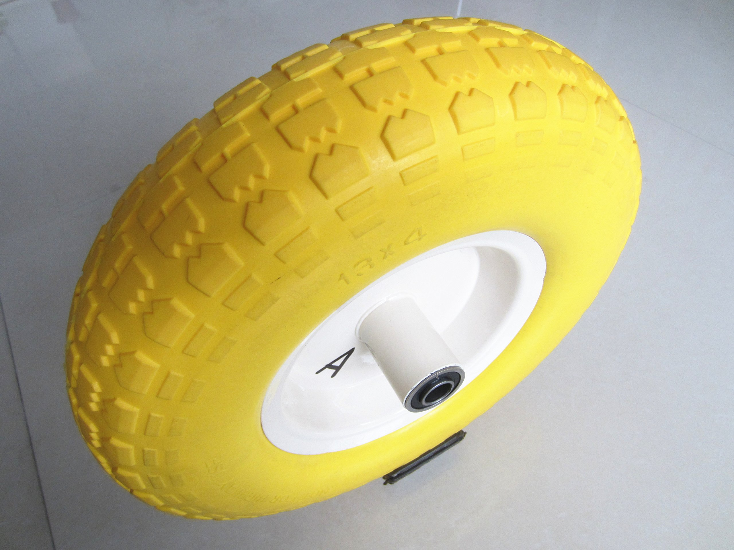 Kunhua 14-pu-y-sz-16 4.00-6-inch Flat Free Wheelbarrow Tire - 4.5-inch Centered Hub(two sides symmetrical) - 5/8-inch Ball Bearings - 13-inch Tire Diameter
