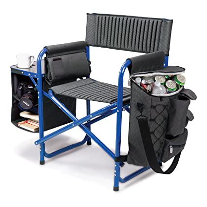 Picnic Time Fusion Original Design Outdoor Folding Chair, Gray With Blue  Frame