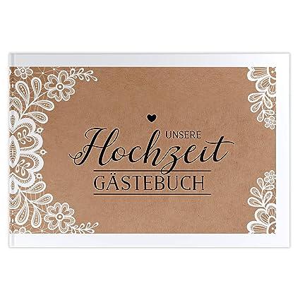 bigdaygraphix Gästebuch Hochzeit Hochzeitsgästebuch Sweet Vintage Kraftpapier Spitze (mit Fragen, A4)