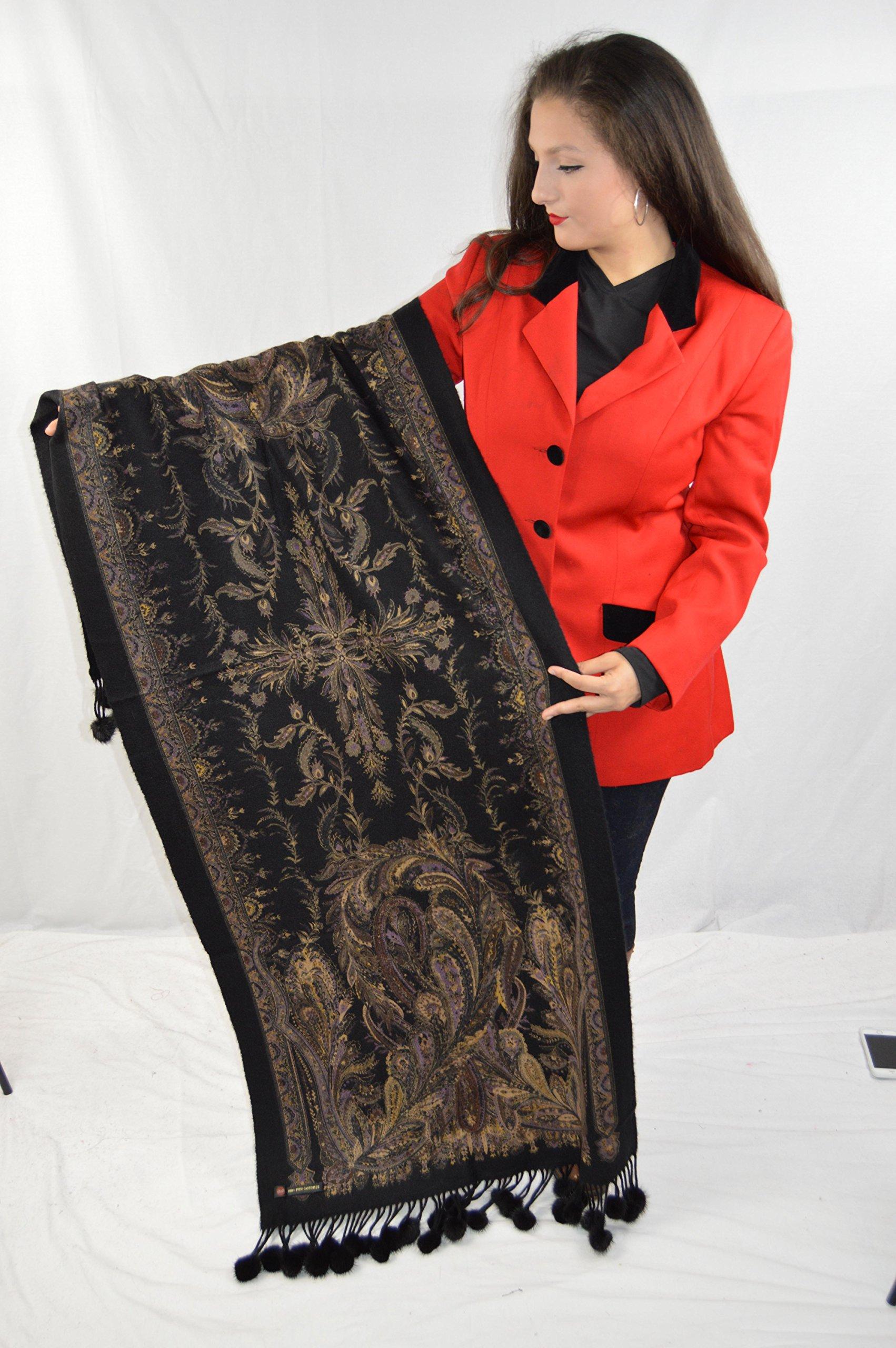 Cashmere Pashmina Group-Cashmere Shawl Scarf Wrap Stole (Solid/ Reversible Print w/ Genuine Fur) - Mink Black by Cashmere Pashmina Group (Image #4)