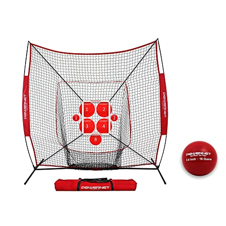 PowerNet Pitch Perfect Targets, Practice Net and Strike Zone Attachment Bundle Baseball Softball Pitching Trainer 3 Size Target Set Increase Pitching Throwing Accuracy Location Strike Training