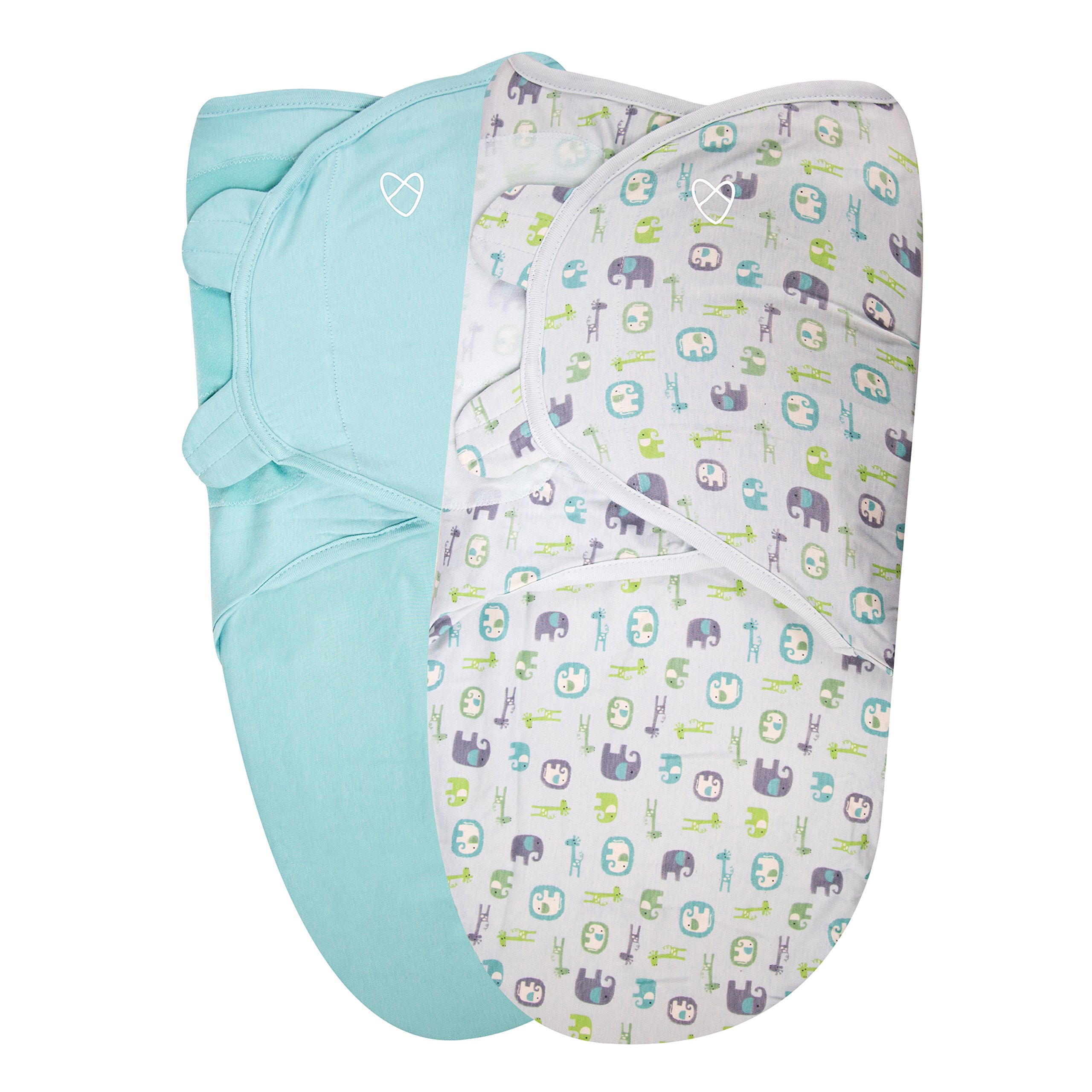 SwaddleMe Original Organic Swaddle 2-PK, Elephant Pebble (LG)