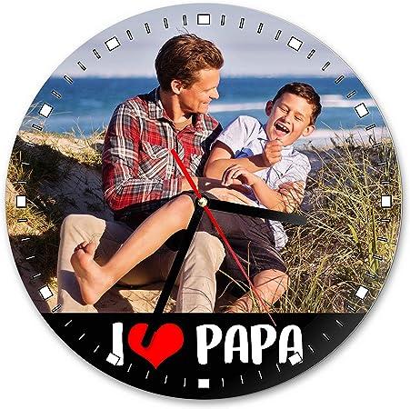 Lamaglieria Horloge Personnalisee Avec Photo I Love Papa Pendule Murale En Verre Ronde Diametre 20cm Amazon Fr Cuisine Maison