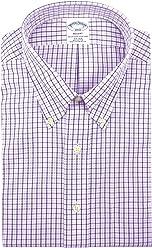 c555d87bba9 Brooks Brothers Men s Plaid Regent Fit Non Iron Dress Shirt White Purple