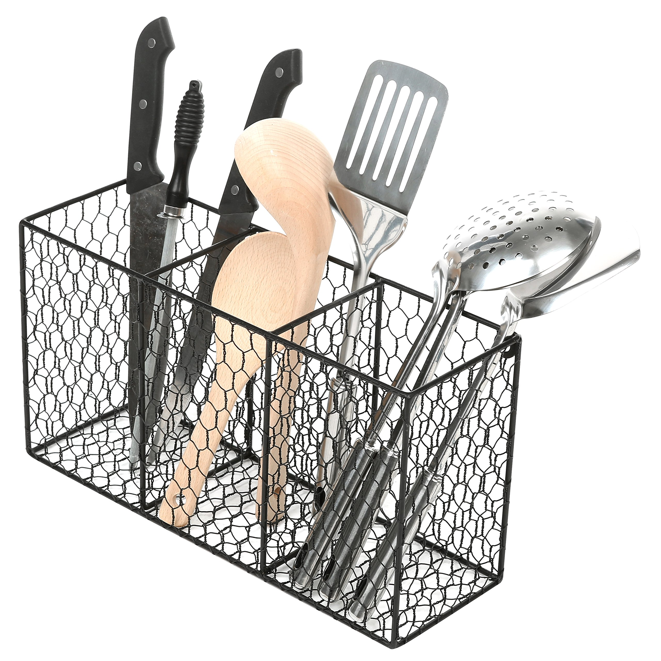 3 Compartment Rustic Chicken Wire Kitchen Utensil Holder Basket, Pantry Storage Rack, Black