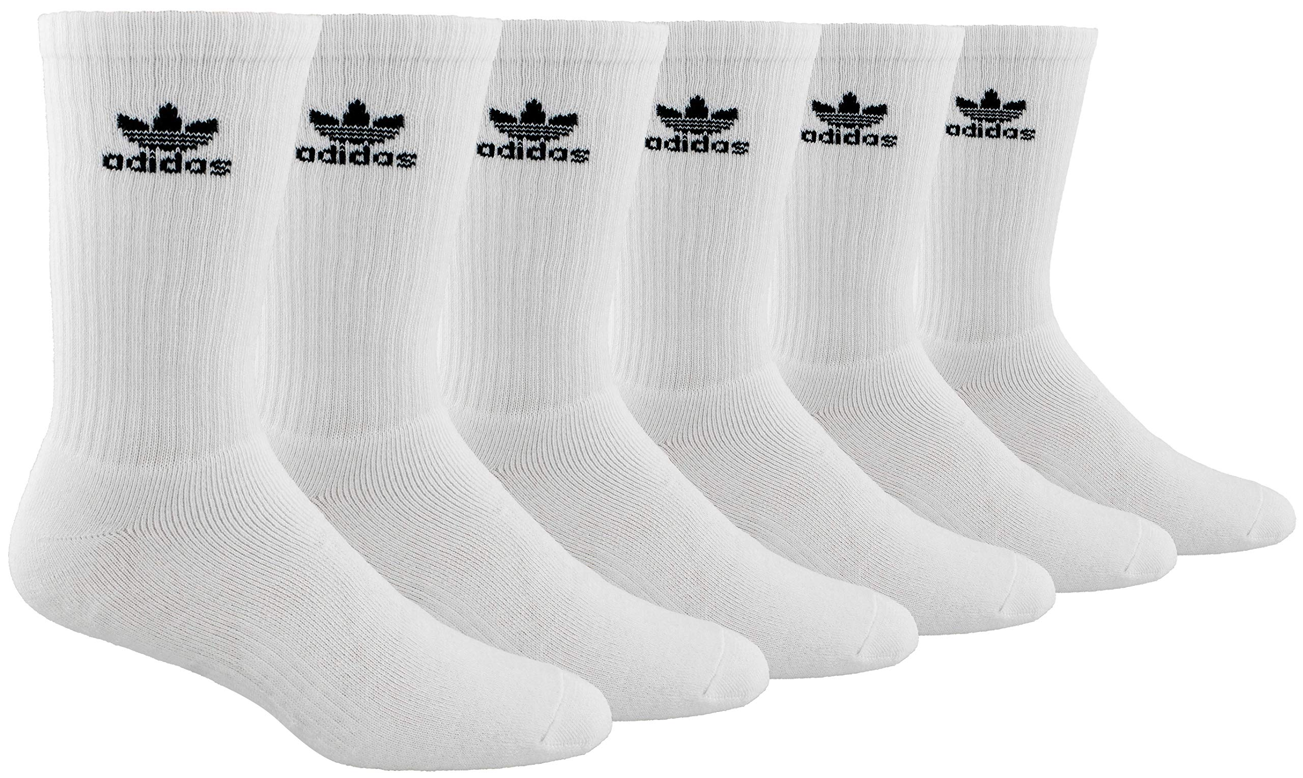 adidas Men's Athletic Cushioned Crew Socks (6-Pair), White/Black, Large, (Shoe Size 6-12) by adidas