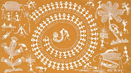 Exotic india chakravyuh warli painting on cotton fabric folk art exotic india chakravyuh warli painting on cotton fabric folk art of the warli tribe altavistaventures Image collections