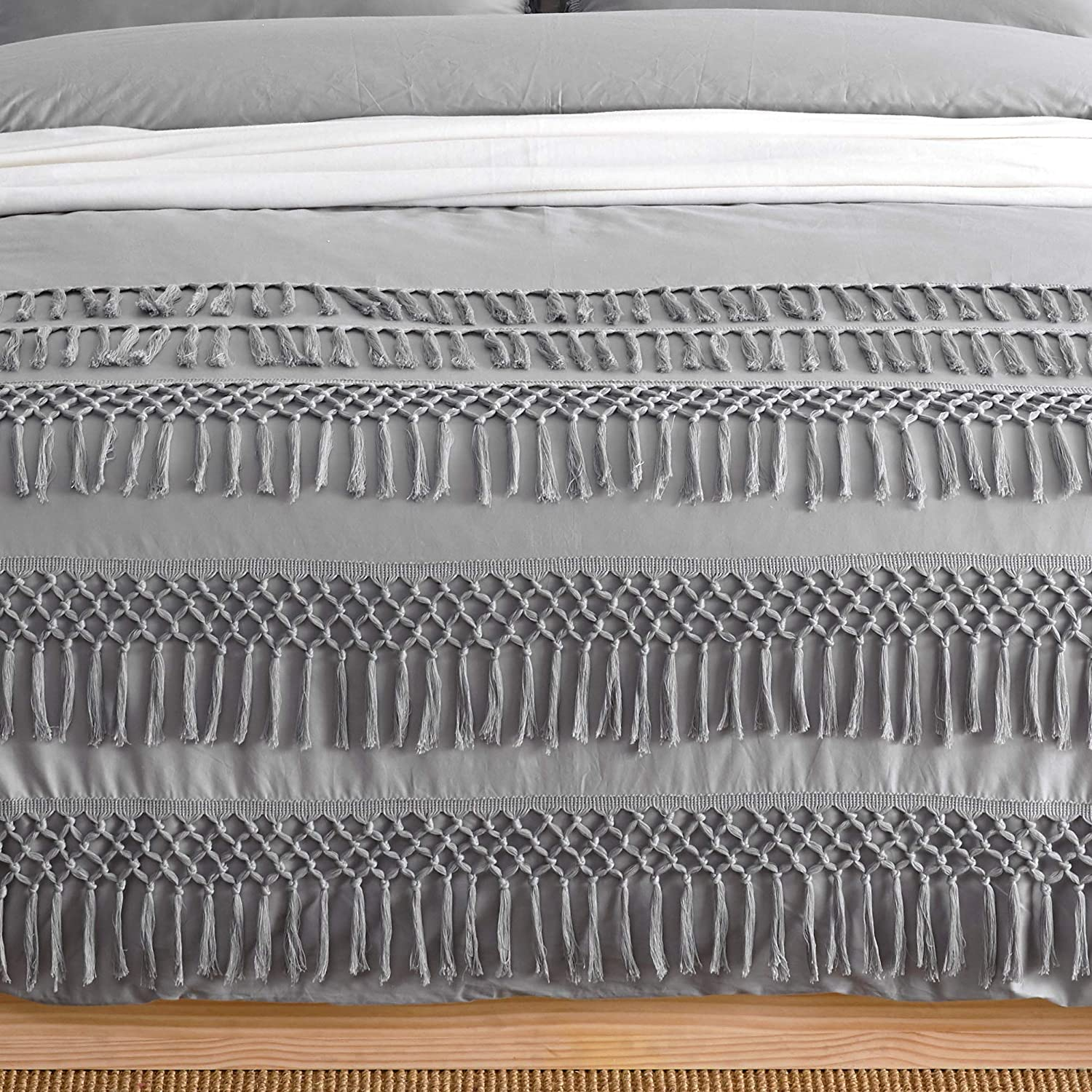 KB /& Me Boho Chic Bohemian Grey Macrame Tassel Duvet Comforter Cover and Sham 3 pc Full//Queen Size Bed Bedding Set Solid Light Gray Cotton Fringe Textured Tufted Minimalist Farmhouse Indie Dorm Teen