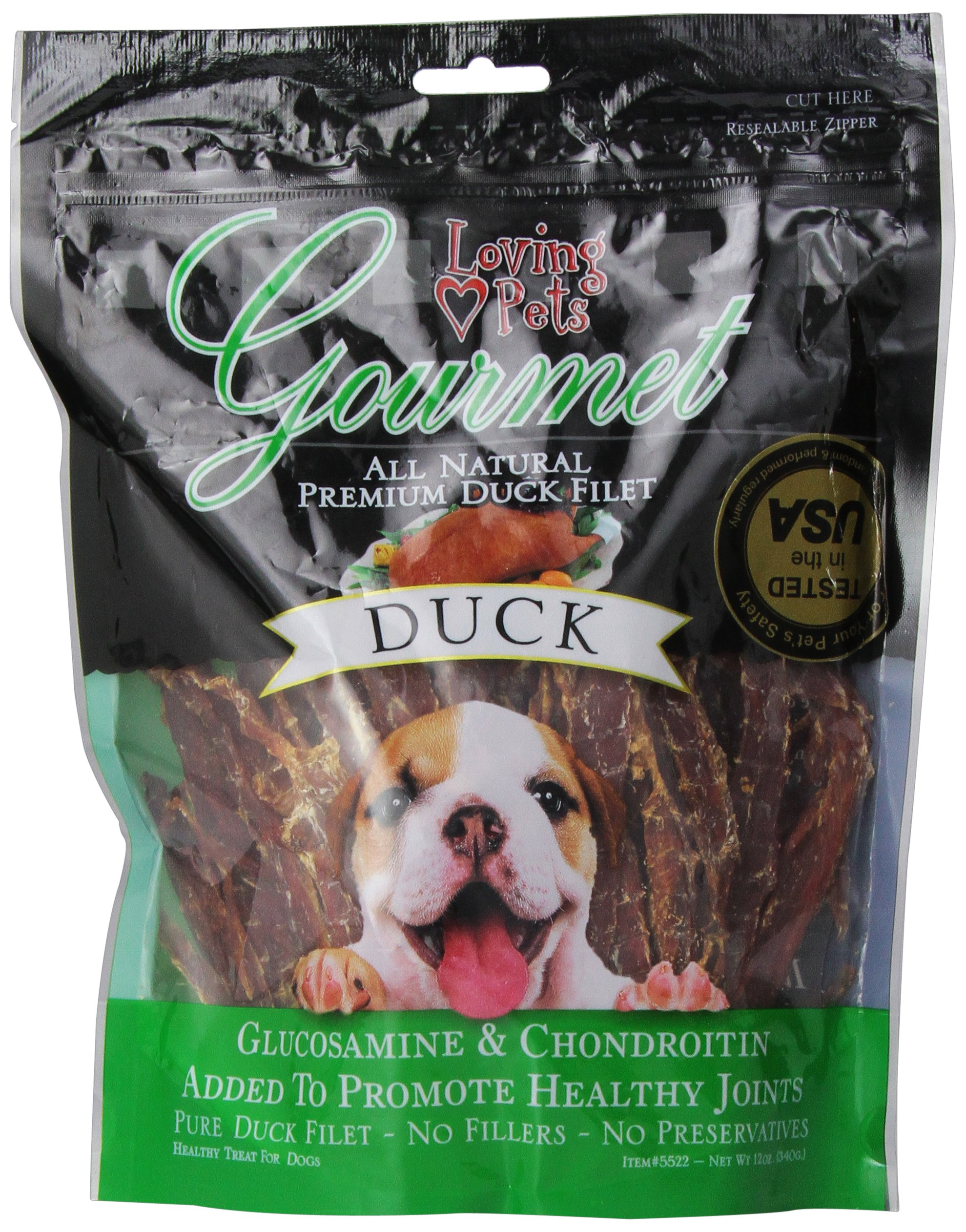 Loving Pets All Natural Premium Duck Strips with Glucosamine & Chondroitin Dog Treats, 12 Ounces by Loving Pets (Image #1)