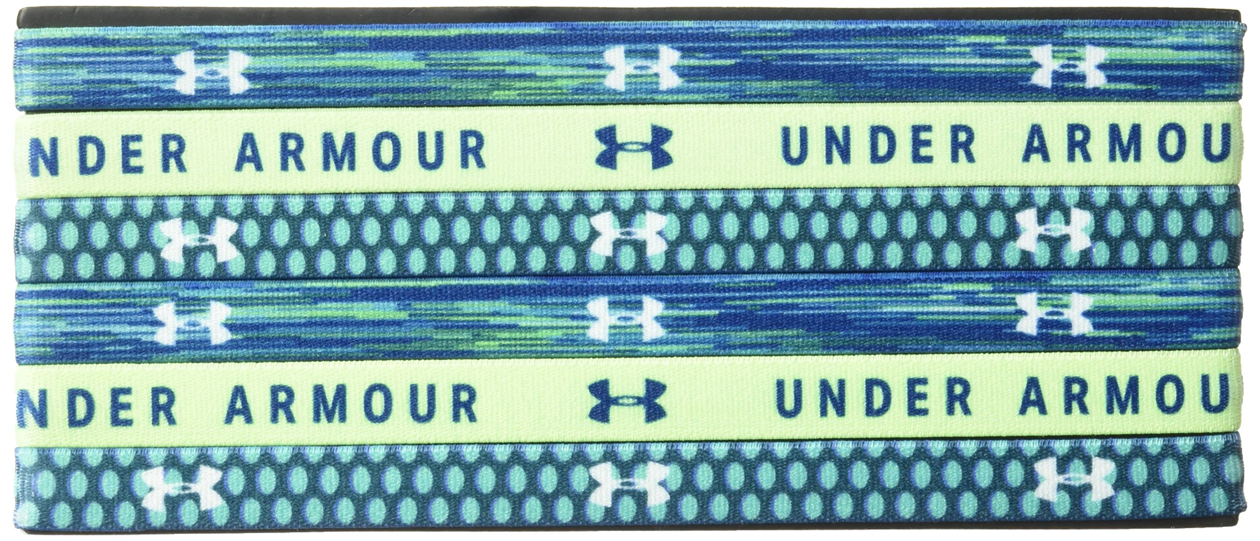 Under Armour Girls' Graphic Headbands - 6 Pack, Moroccan Blue (487)/White, One Size Fits All by Under Armour (Image #1)