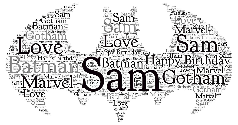 Personalised word art print batman gotham marvel son dad birthday gift keepsake card frame amazon co uk handmade