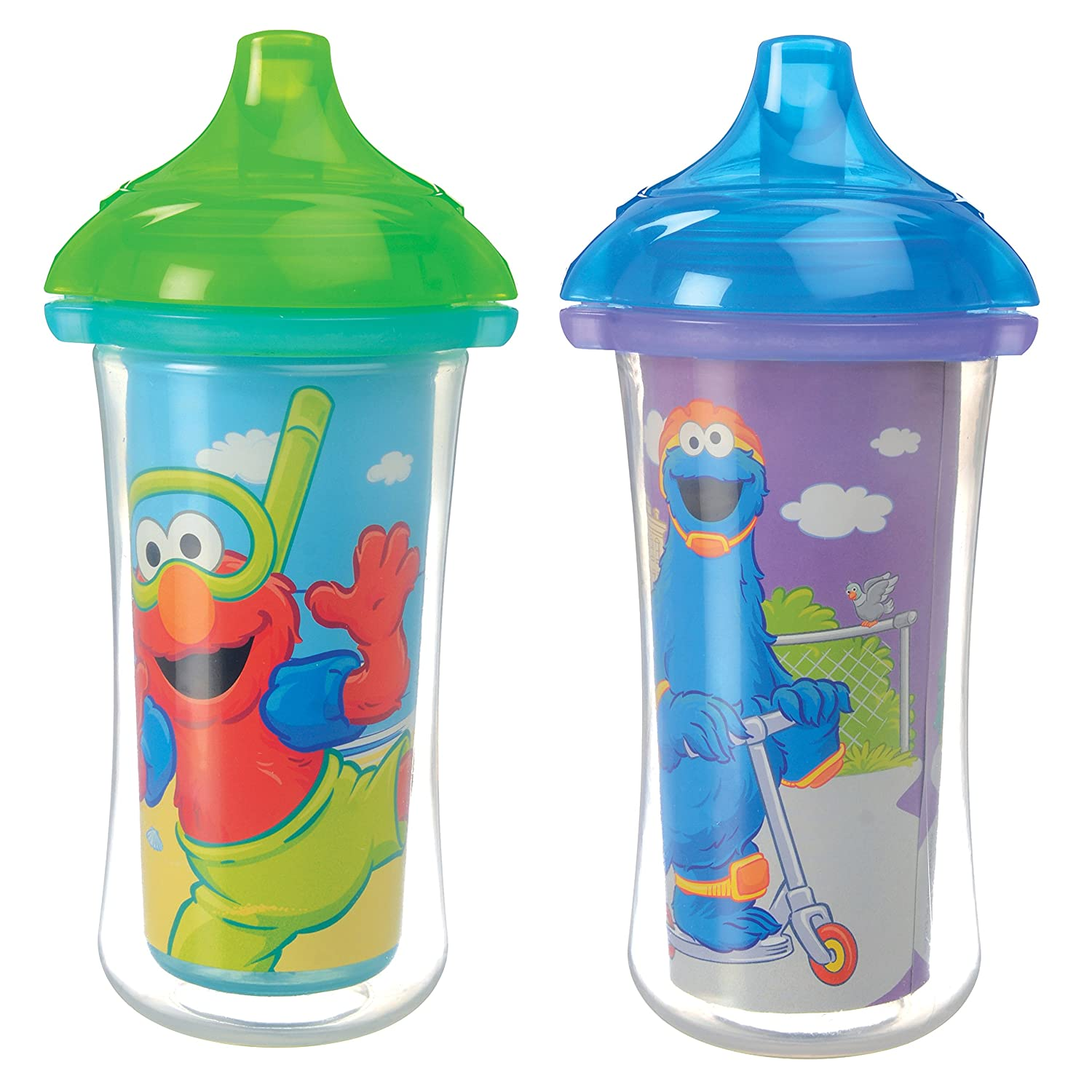 Munchkin Sesame Street Click Lock Insulated Sippy Cup, 9 oz., Colors May Vary, 2 Count