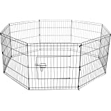 Oxgord Dog Animal Playpen Large Metal Wire Folding Exercise Yard Fence 8 Panel Popup Kennel Crate Fence Tent Portable - Black - Premium Quality - Durable
