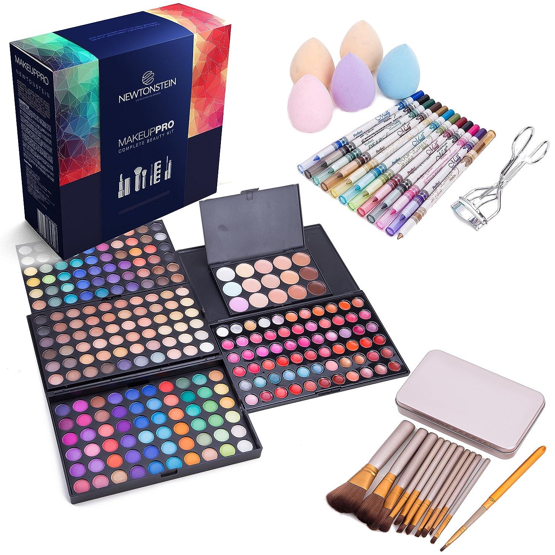 MakeUpPro - Conjunto completo de 291 piezas con una paleta de 180 colores de sombra de ojos, 66 colores de brillo de labios, 12 lápices de ojos, 12 brochas de maquillaje, 15 correctores, 5 esponjas de lágrima + rizador de pestañas Terraberk
