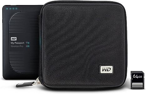Western Digital WDBNAR0000NBK WASN My Passport Wireless Pro Hartschalentasche mit SD Kartensteckplätzen