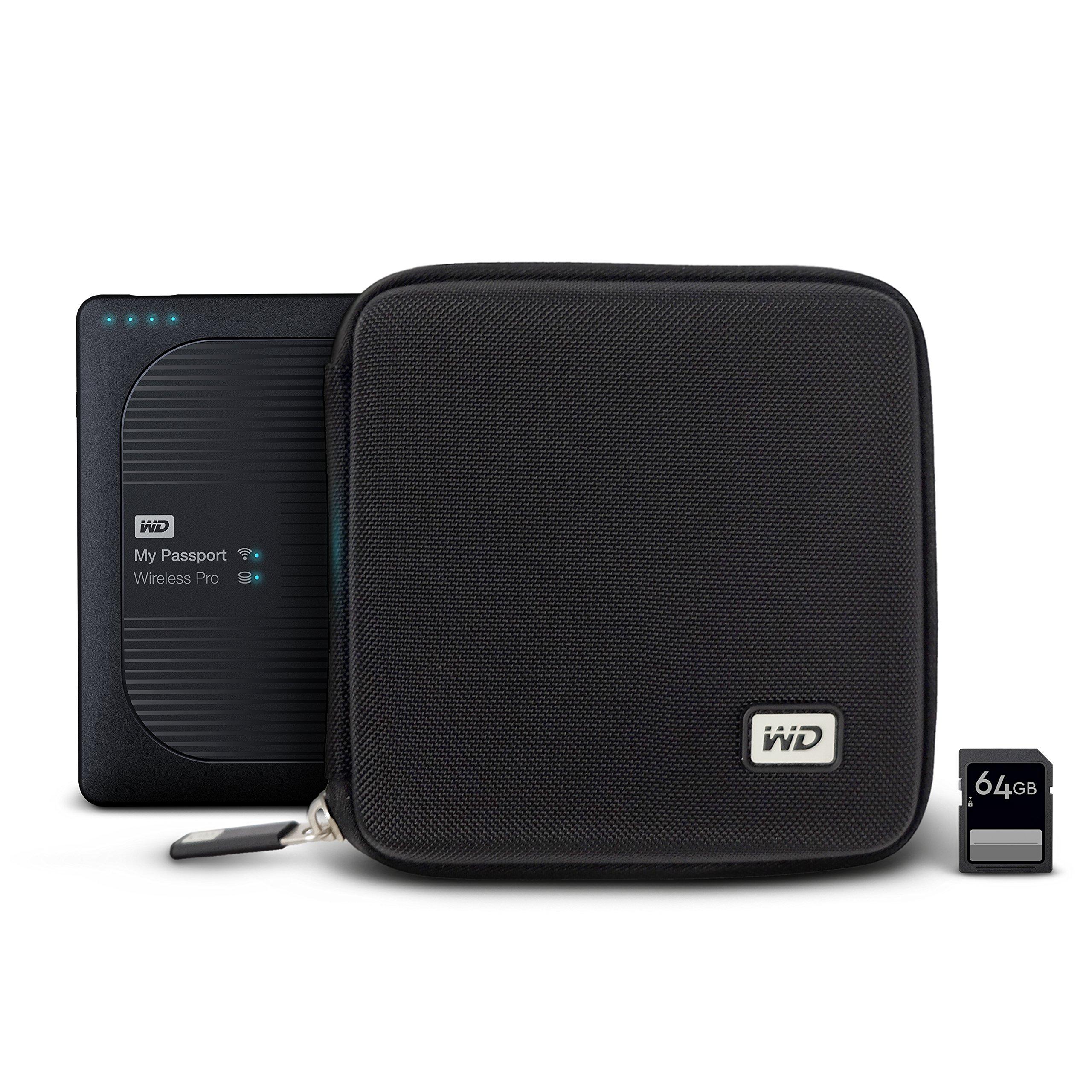 WD My Passport Wireless Pro - Funda rígida con Ranuras para Tarjetas SD, Color Negro