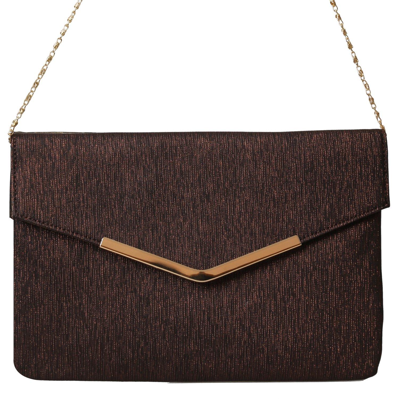 PU Evening Envelope Magnet Hook Evening Clutch Bag Fashion Women Handbags Purse (Coffee)