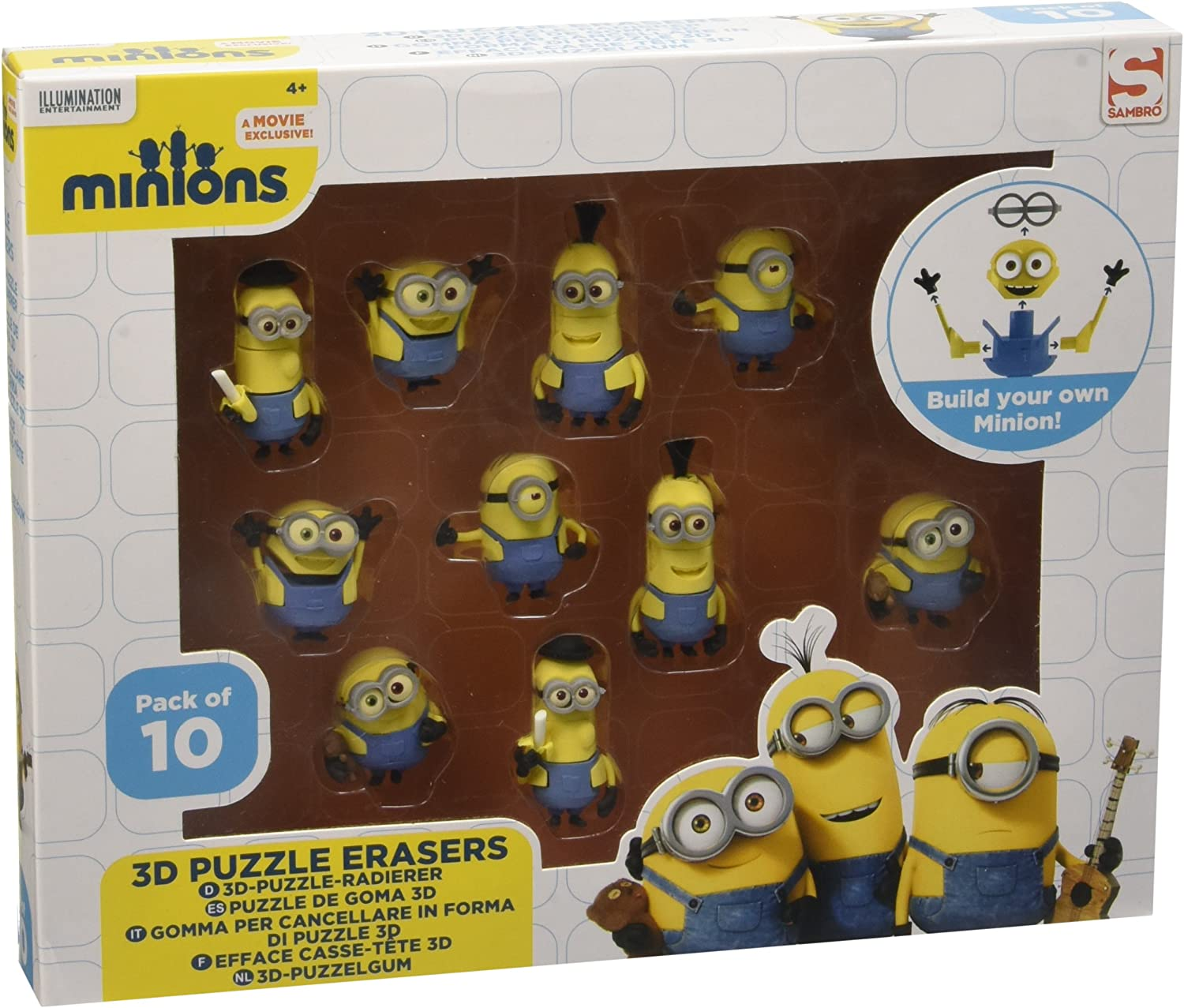 Bob NEW Stuart Kevin Universal Minions Set Of 3 Puzzle Erasers In Case
