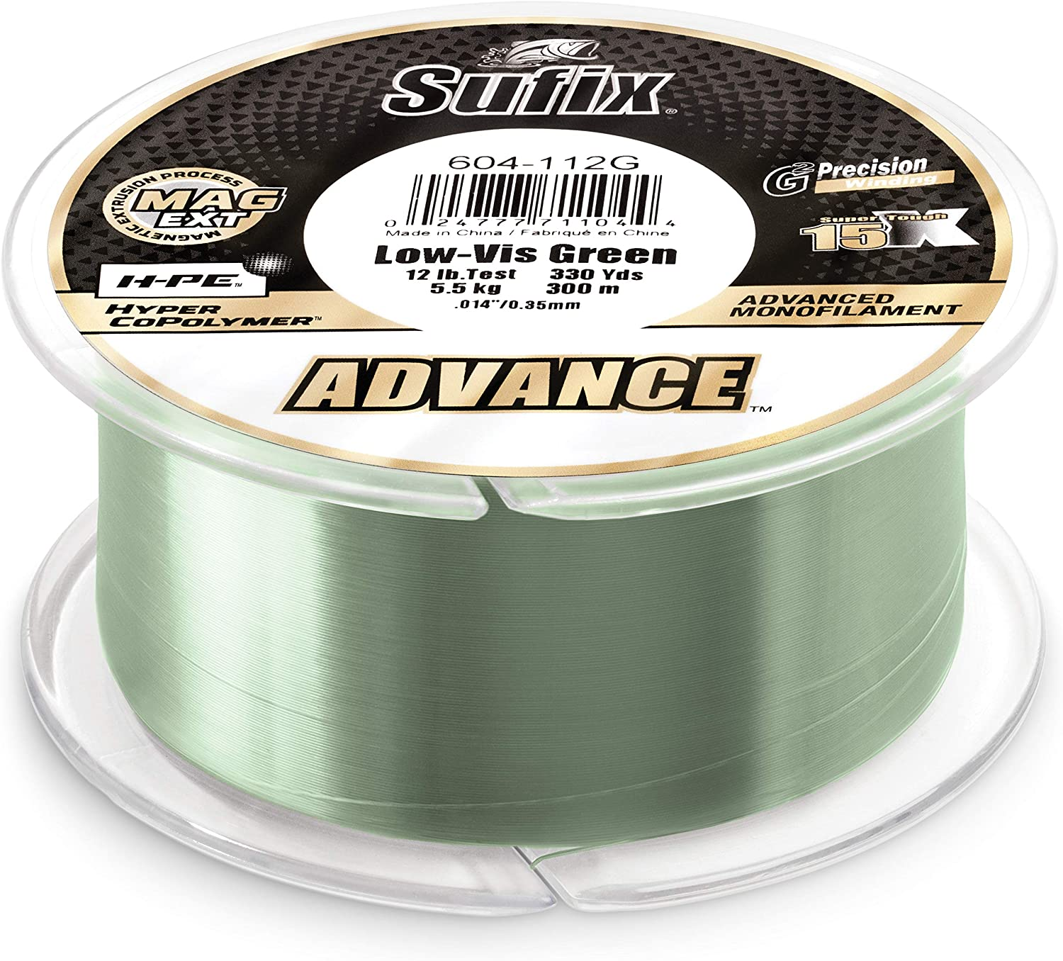 Sufix Advance Lo-Vis Green Monofilament 250-330 Yard Spools