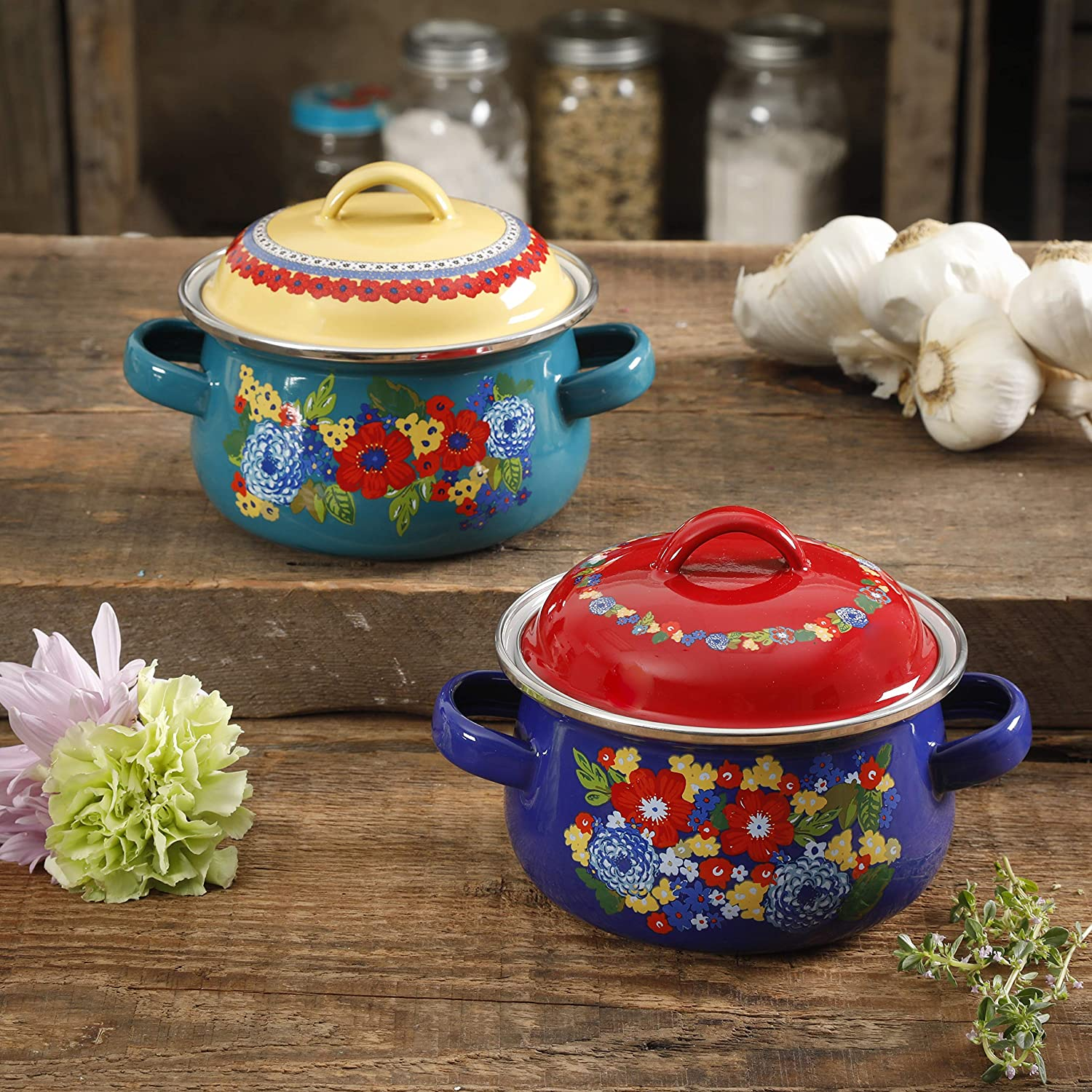 The Pioneer Woman Dazzling Dahlias Mini Dutch Ovens, Set of 2