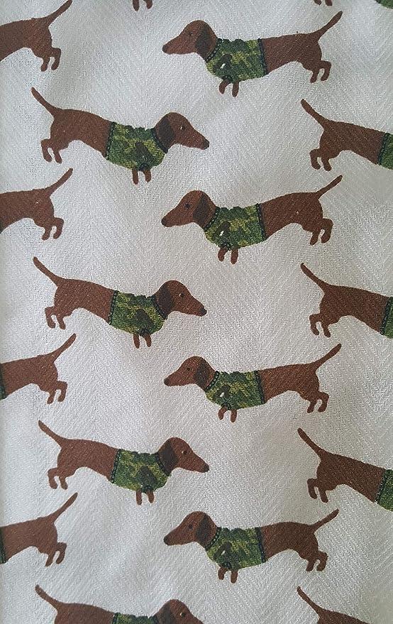 ENVOGUE Kitchen Towels Camouflage Dogs Dashchunds Green Brown Cotton Set of 2
