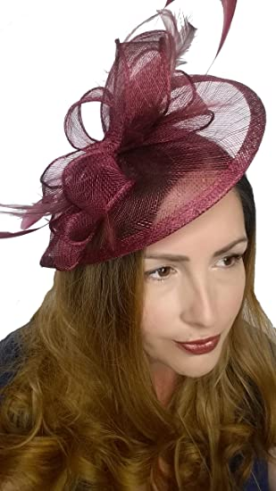 449fe9d7 Martha Rose Boutique Wine Pink Sinamay & Feather Teardrop Hat Fascinator - Occasion  Wedding Races: Amazon.co.uk: Clothing