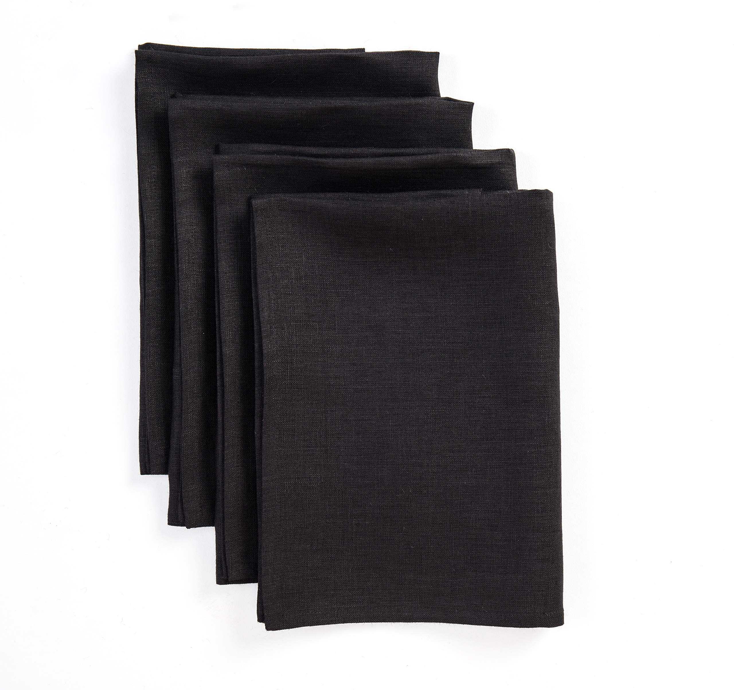 Solino Home Linen Dinner Napkins - 20 x 20 Inch Black, 4 Pack Linen Napkins, Athena - 100% European Flax, Soft & Handcrafted with Mitered Corners