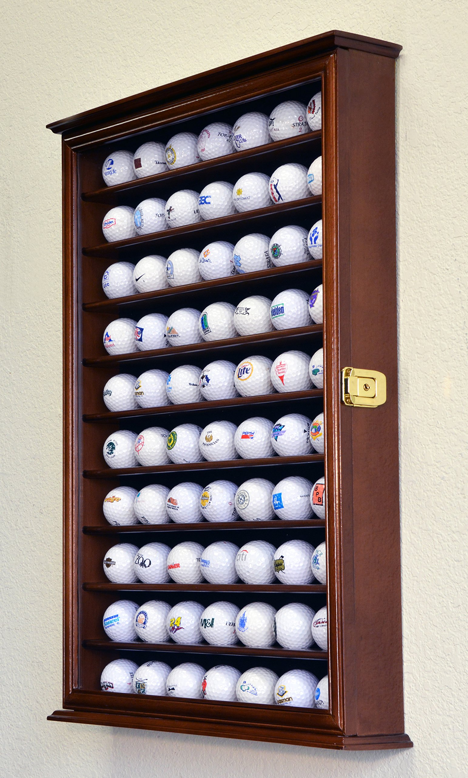 70 Golf Ball Display Case Cabinet Holder Wall Rack w/ UV Protection -Walnut by sfDisplay (Image #3)