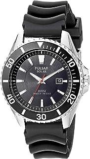 Pulsar Mens Solar Sport Silvertone Black Strap Watch
