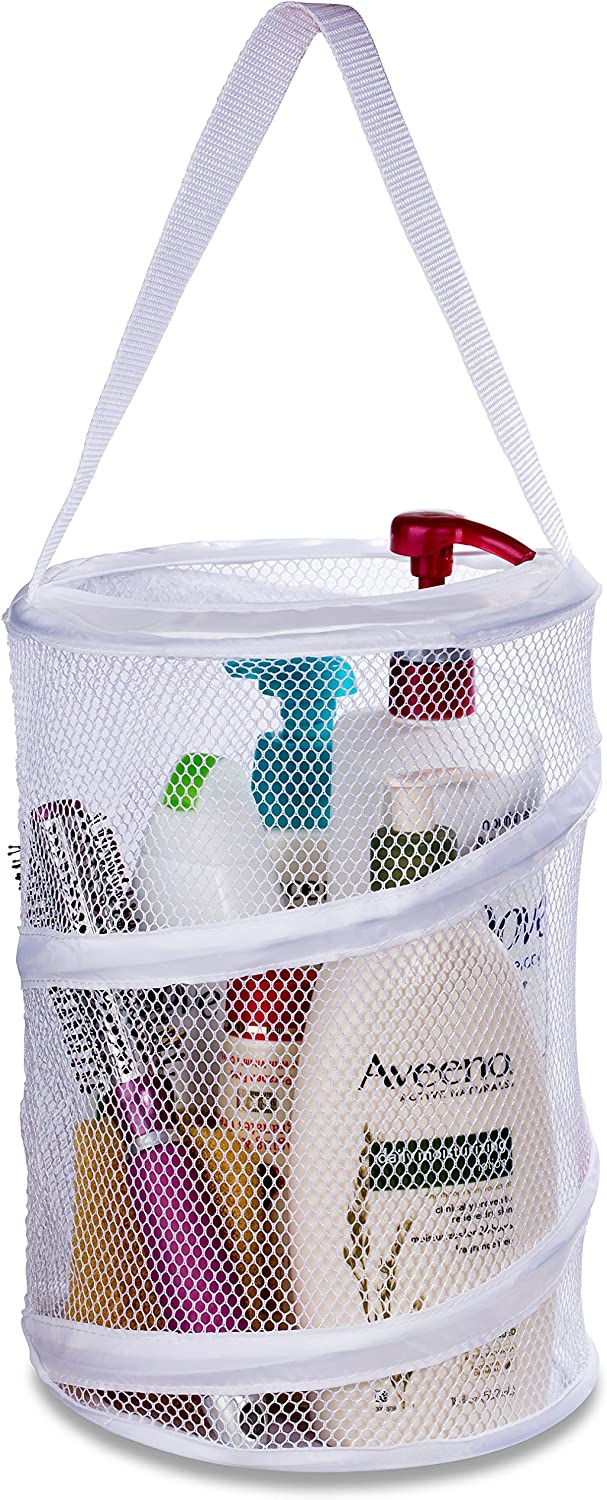 "Dorm Shower Caddy – 8"" X 12"" - Carry Your Personal Care Items Right Into the Shower. Great for College Dorm Life, Gyms, Camping and Travel. Folds Flat for Easy Storage When Not Needed. (White)"