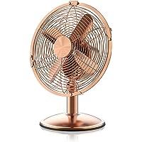 Brandson - Retro Tischventilator im Kupfer Design | 18cm Tisch Ventilator | 2 Geschwindigkeitsstufen | Leistungsaufnahme 20W | Neigungswinkel ca. 40° | robustes Metallgehäuse | Kupferveredelung