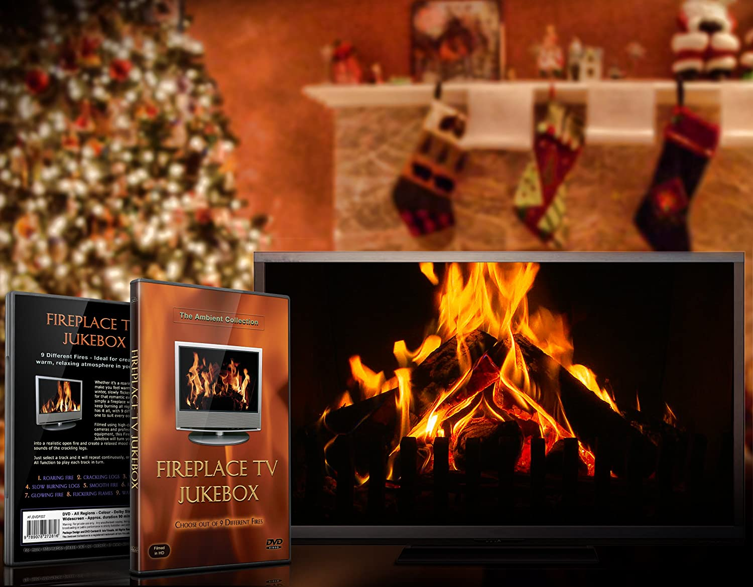 fire dvd fireplace tv jukebox dvd with 9 burning wood fires