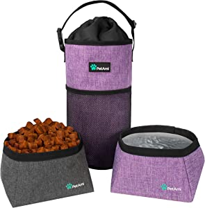 PetAmi Dog Food Travel Bag | Kibble Carrier for Dogs with Collapsible Dog Water Bowls Kit | Pet Food Travel Container Storage for Camping, Hiking Gear Accessories (Purple,Grey)