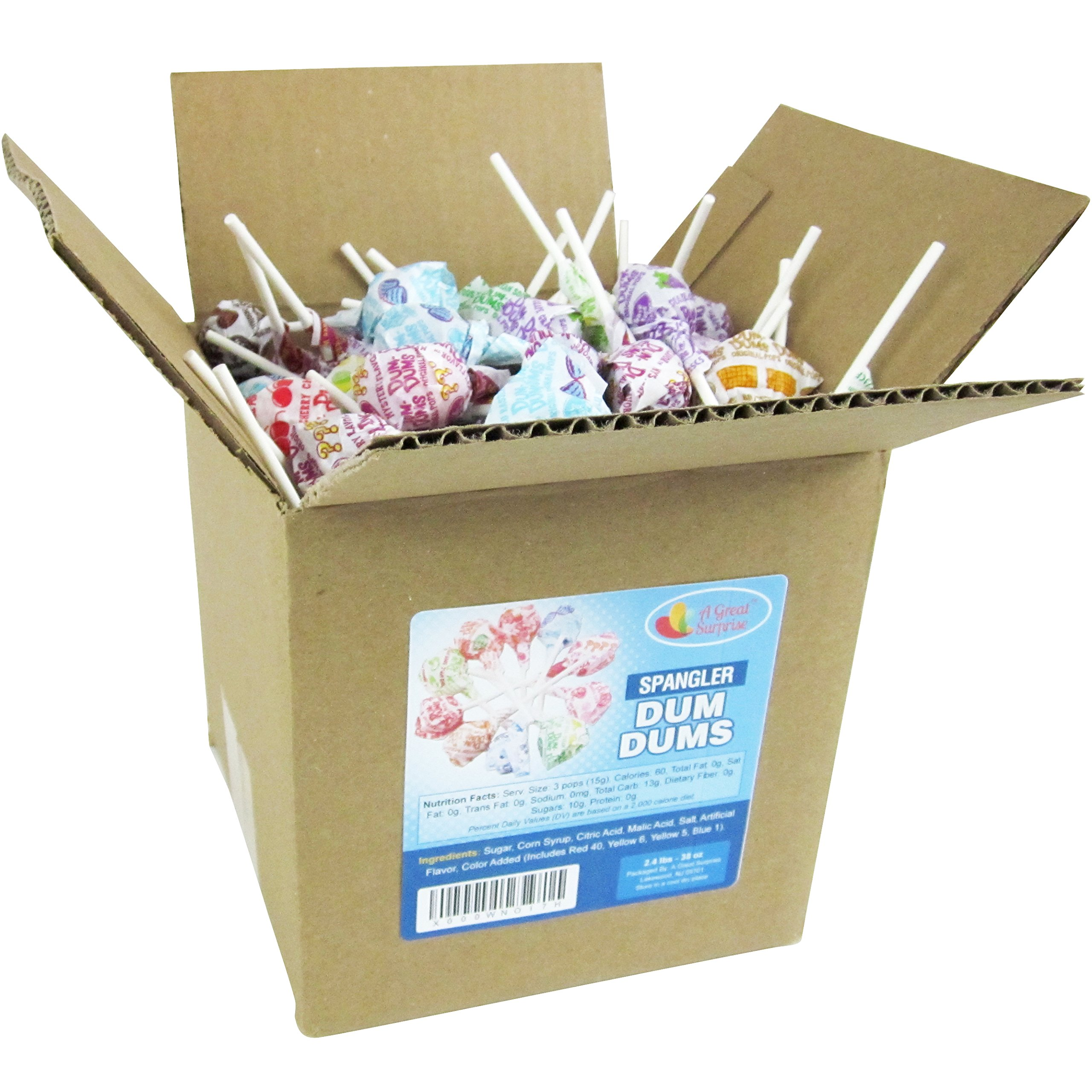 Dum Dums Pops by Spangler, Assorted Flavors Lollipops in 6x6x6 Box Bulk Candy, 2.4 lbs. - 38 oz. by Dum Dums (Image #3)