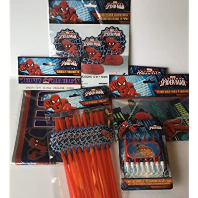 Spider-Man Birthday Decoration Set - Includes Metallic Happy Birthday Banner, 16 Loot Bags, 8 Candles , 3 Piece Mini Honeycomb Decorations, 18 Straws: Toys & Games [5Bkhe0201235]