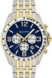Gigandet Quarz Herren-Armbanduhr Fast Track Chronograph Uhr Datum Analog Edelstahlarmband Gold Blau G12-010