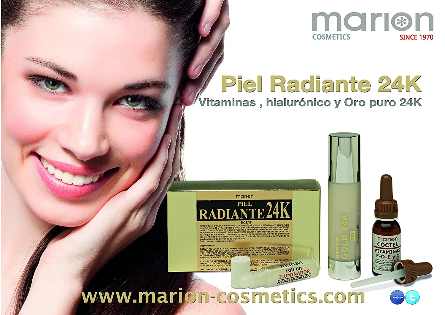 Serum Gold 24k + Vitaminas C - F - D - E + Roll On Iluminador Hialuronico (50 ml + 30 ml + 12 ml)  . KIT PIEL RADIANTE 3 Productos para la ...