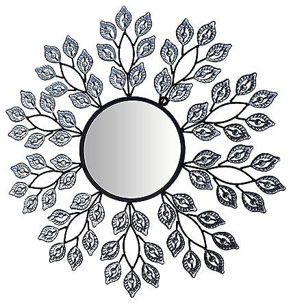 Amazon.com: LuLu Decor, Decorative Crystal Leaf Metal Wall Mirror ...