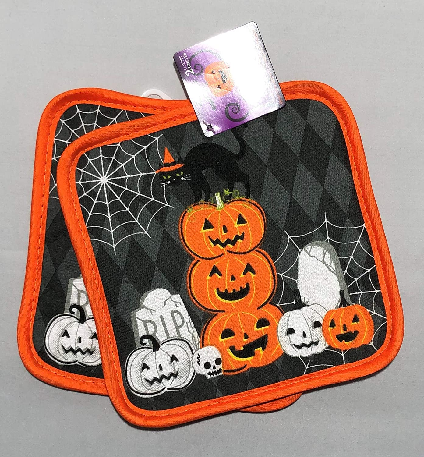 Black Whimsical Printed Halloween Oven Mitts and Pot Holders