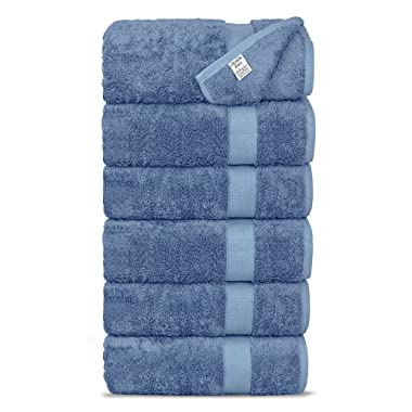 Chakir Turkish Linens Luxury Ultra Soft Bamboo 6-Piece Hand Towel Set - Soft, Absorbent and Eco-Friendly (Wedgewood)