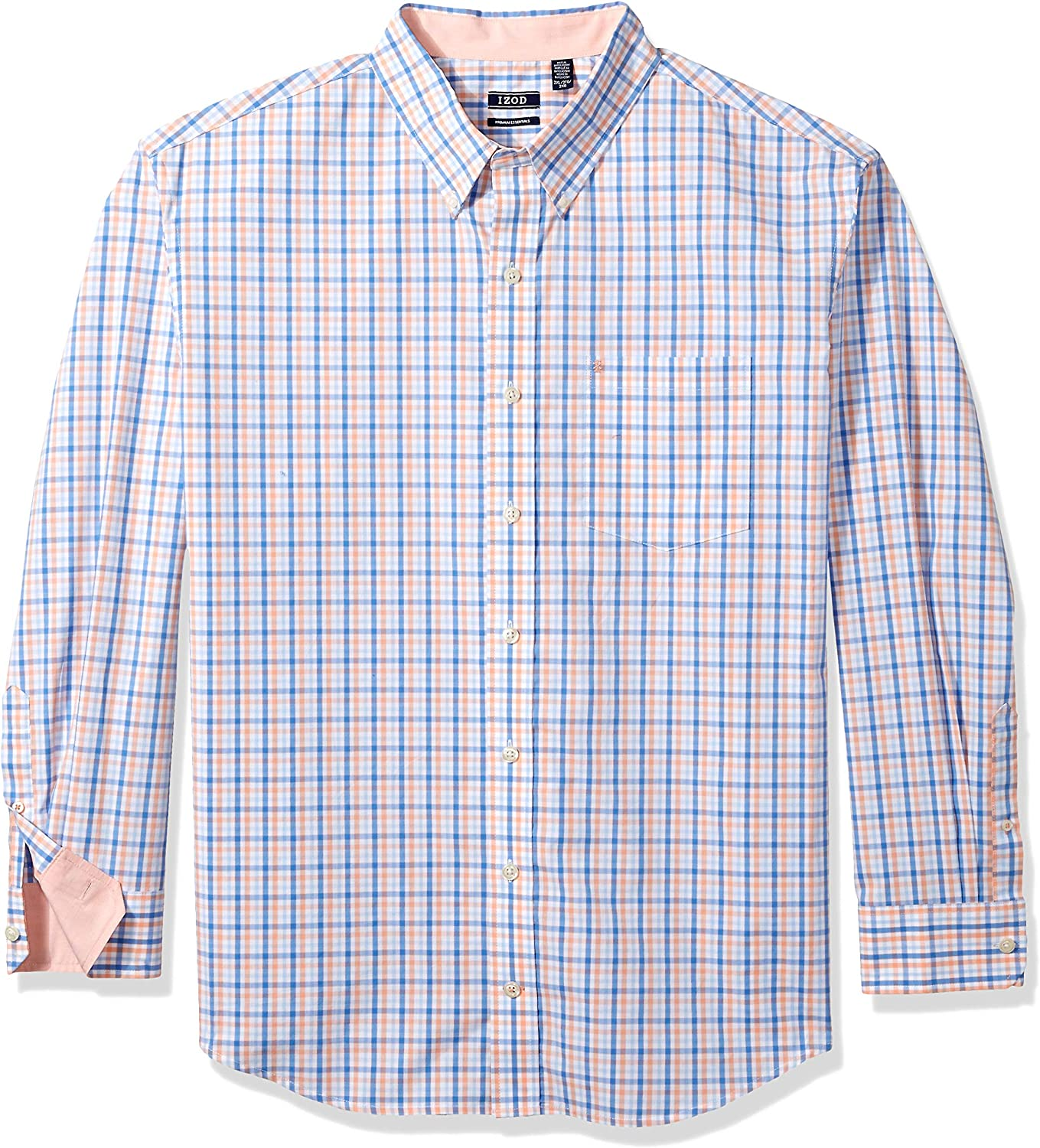 IZOD Mens Big and Tall Button Down Long Sleeve Stretch Performance Tattersal Shirt