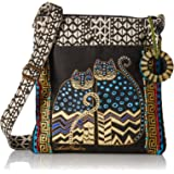 Laurel Burch Crossbody Tote with Zipper Top, Spotted Cats