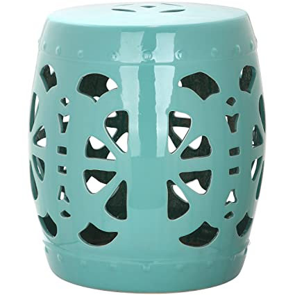 Magnificent Safavieh Castle Gardens Collection Stencil Blossom Aqua Glazed Ceramic Garden Stool Andrewgaddart Wooden Chair Designs For Living Room Andrewgaddartcom