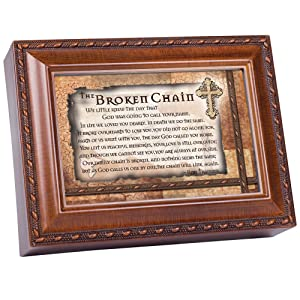 Cottage Garden Broken Chain Inspirational Woodgrain Traditional Music Box Plays Amazing Grace