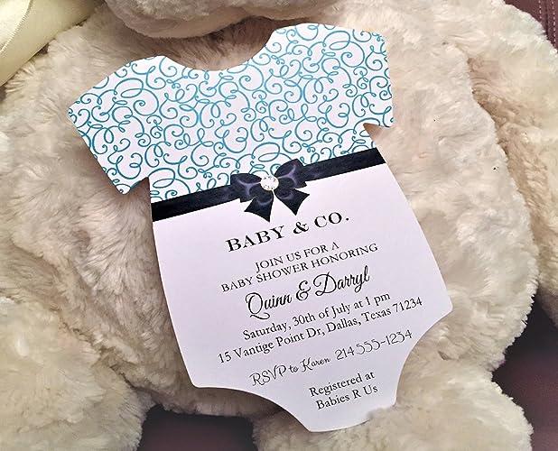 Amazon Com Set Of 10 Tiffany Blue Elegant Baby Shower Invitations