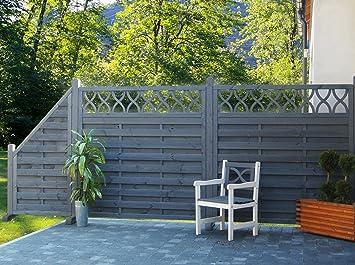 Sichtschutzzaun Wien Set 1 Grau Lasiert Holz Lamellenzaun Amazon De