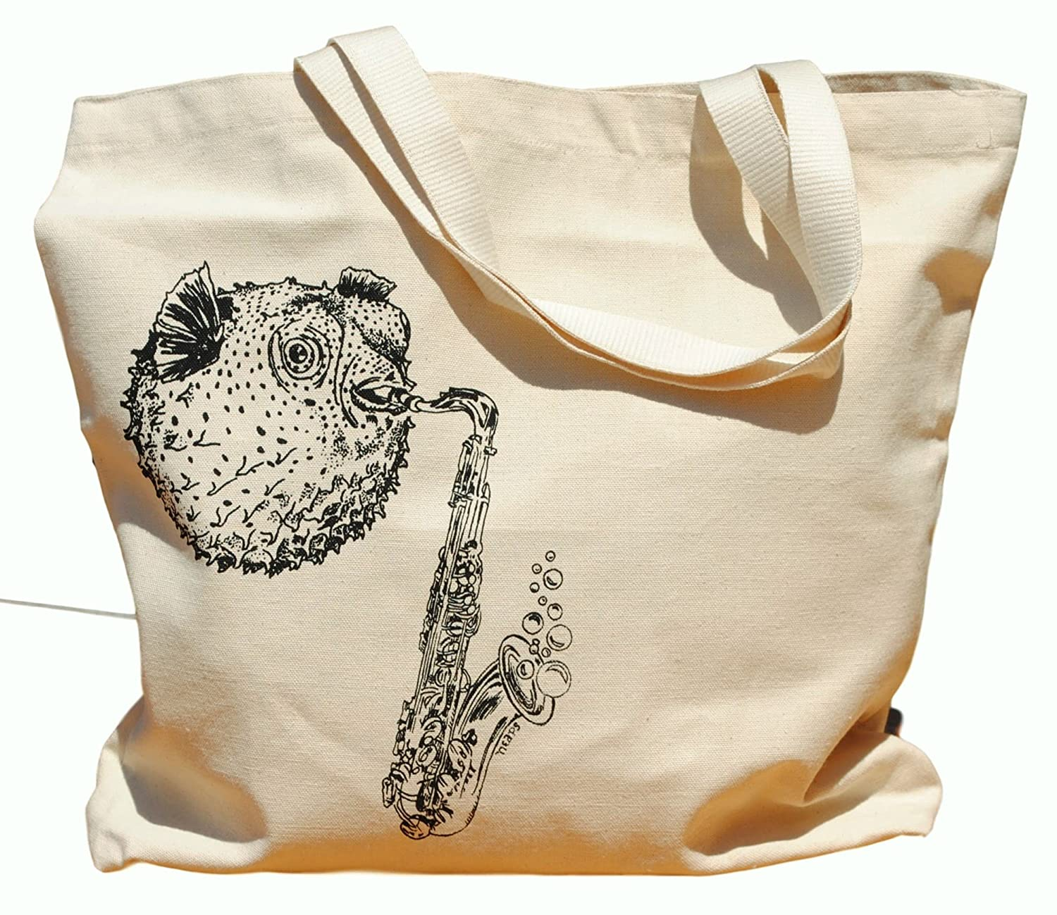 Canvas Tote Bag - Hand Printed Blow Fish Playing Saxophone - Market Travel Beach Shopper Grocery School