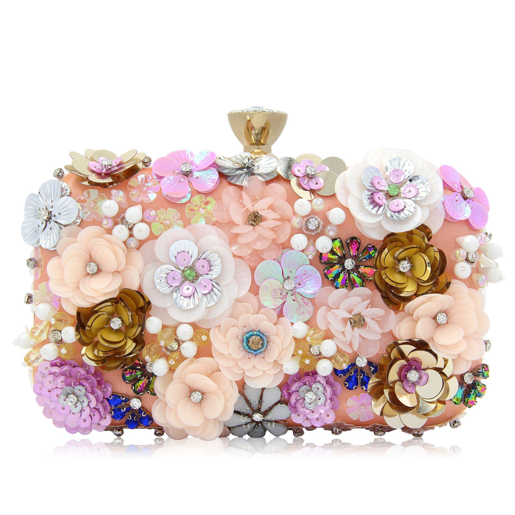 Milisente Women Clutches Colorful Flower Evening Bag Sequins Satin Evening Clutch by Milisente